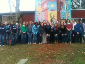 Students from Emory & Henry College who visited Highlander to learn about its history and methodologies.